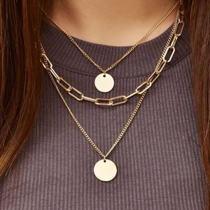 Gold Layered Circle Necklace